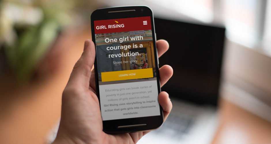 Girl Rising site displayed at mobile size.